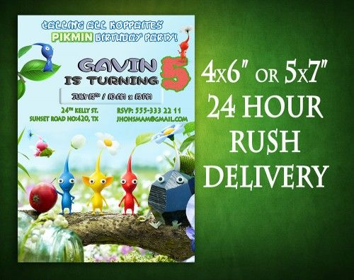 Pikmin Invitation Birthday Party Digital Printable   This is a listing for digital printable invitation, no physical invitation will be sent! While making the purchase please write the information bel