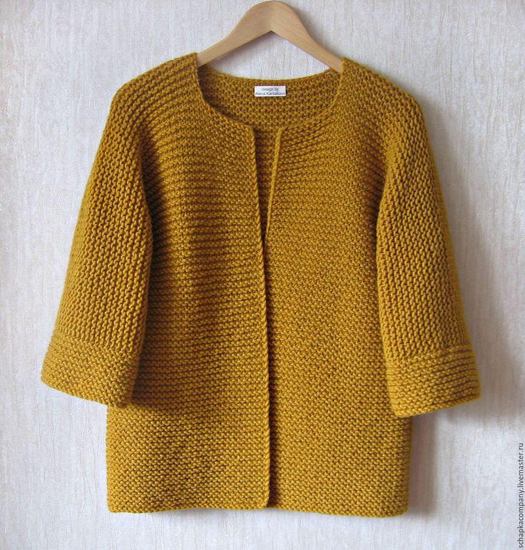 Купить Кардиган Kimono - коричневый, горчичный, горчичный цвет, горчица, платочная вязка, кардиган вязаный