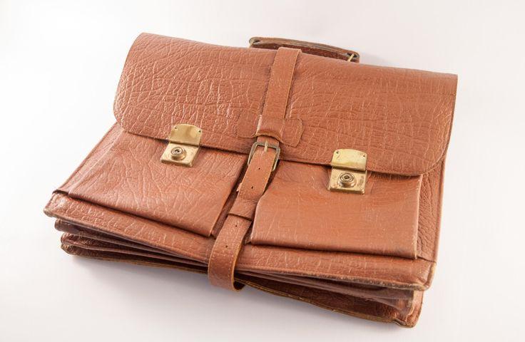 Vintage BRIEFCASE, brown attache case, large laptop bag 15 inch, 14 inch laptop bag, tool bag, nerd briefcase, vintage mens briefcase by VintageEuropeDesign on Etsy