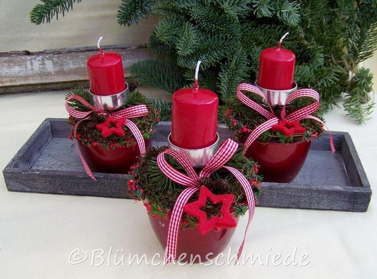 ♥ Kleines Kerzengesteck Weihnachtsgesteck von Die Blümchenschmiede...  auf DaWanda.com