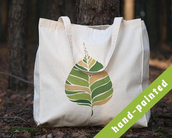 Natural Tote Bag Botanical Tote Bag Leaf Tote Bag/ by tsomoriri