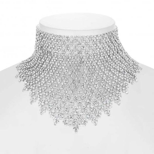 Jon Richard Crystal Diamante Statement Choker Necklace 2 745 Rub Liked On Polyvore Featuring Jewelry Ne Crystal Choker Necklace Collar Jewelry Wide Choker