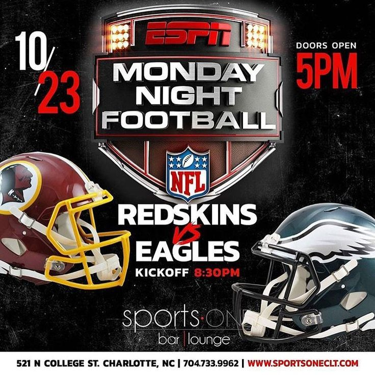 Monday Night Football Watch Party @Redskins vs @PhiladelphiaEagles at @SportsONECLT #Charlotte Doors 5pm / Kickoff 8:30pm #MNF #Redskins #Eagles #Football #Drinks #Bartender #NC #Television #Fans #Food #Bar #Lounge #Washington #Philadelphia #NFL #Touchdown #Score #Quarterback #Pass #Throw #FieldGoal #Downs #Yards #KUITK