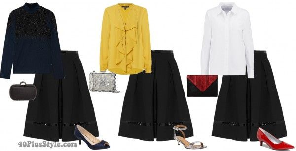 How to wear a black skirt 10 different ways – casual, work and evening      40+ Style