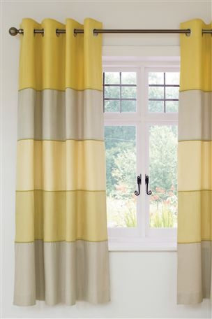 Ochre Chambray Panel Eyelet Curtains From The Next Uk Online Maybe For Yellow Grey Stripe Nursery