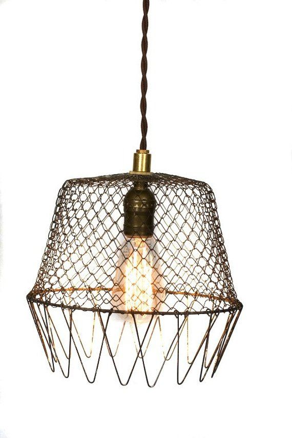 Vintage Industrial Wire Cage Farmhouse Pendant Cage Light