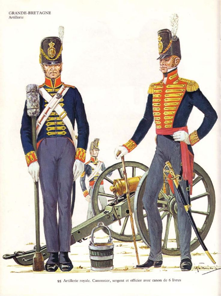 1815 ca. Sergeant and Officer of the Royal Artillery, Cannons, British, with a 6 pound cannon. suzilove.com