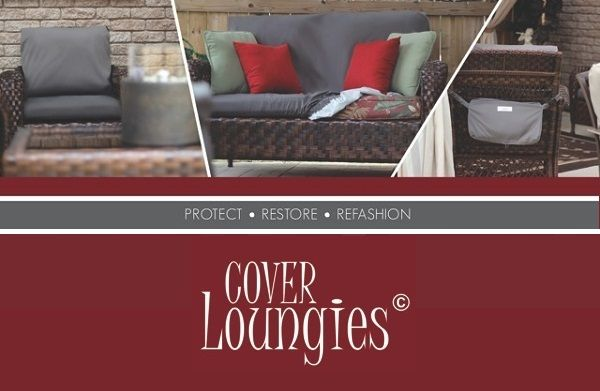 CoverLOUNGIES is a waterproof slipcover attached to a storage bag that hangs on the back of the furniture for compact and convenient storage. It is also water repellent, UV protected and machine washable. The fabric is lightweight, soft to the touch and has some stretch to accommodate different cushion thickness. Fits most standard size furniture cushions.