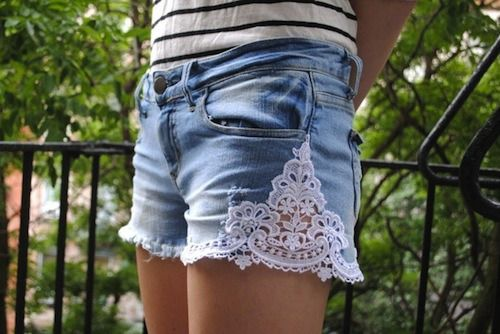 "Jeans DIY idea...this could render ""skinnies"" into viable shorts. :-)"