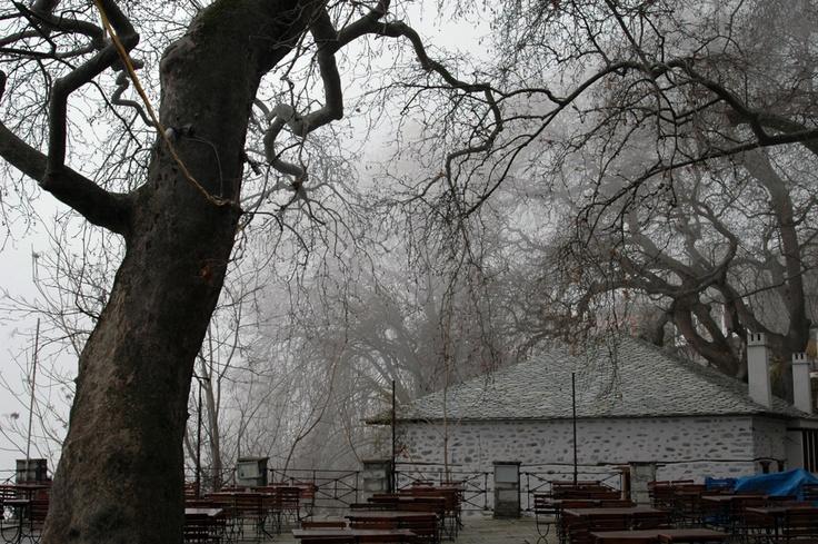 Town square of Makrinitsa traditional village, Greece