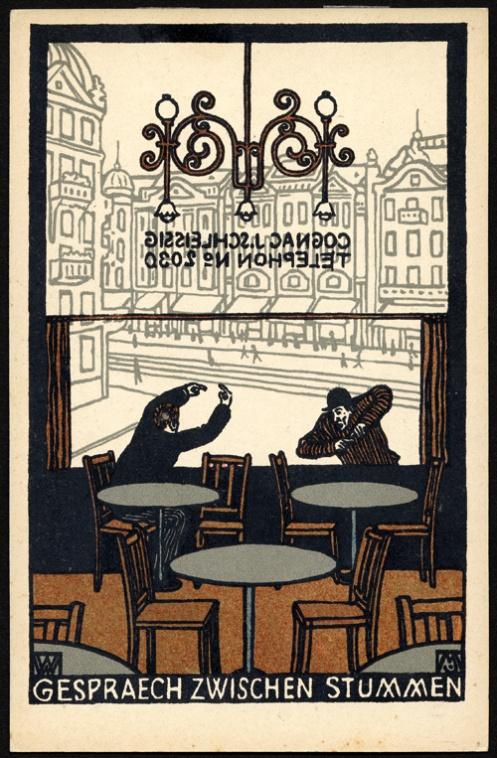 """illustration autrichienne : Moriz Jung, """"conversation muette"""", carte postale Wiener Werkstätte, intérieur de café viennois, 1907:"""