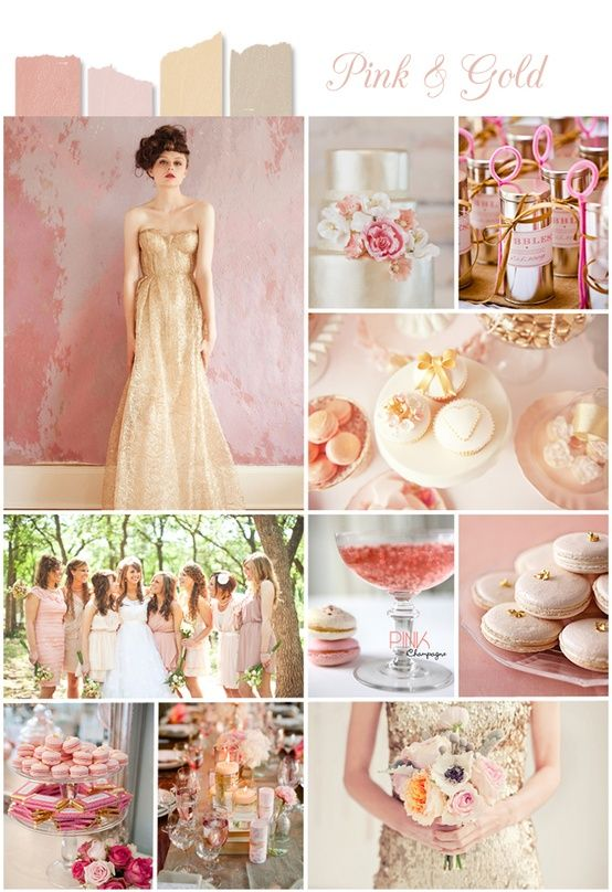 Wedding Color Palette: Gold - The Inspired Bride  Gold is used more often lately, I have seen beautiful beach weddings with gold accents... elegant look and easy to accomplish !