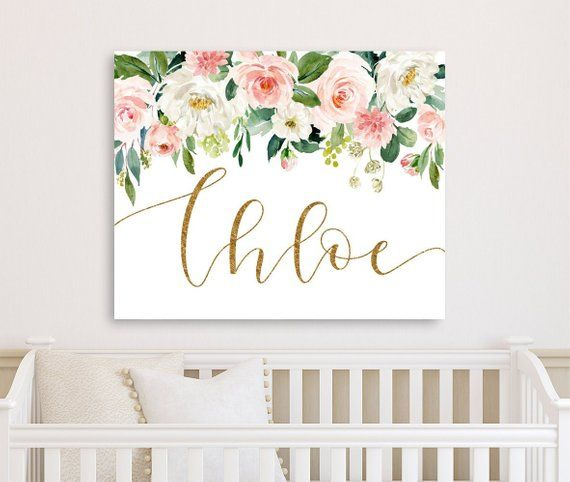 Personalized Floral Nursery Decor Wall Art Canvas Girl Etsy Floral Nursery Decor Nursery Decor Wall Art Nursery Canvas