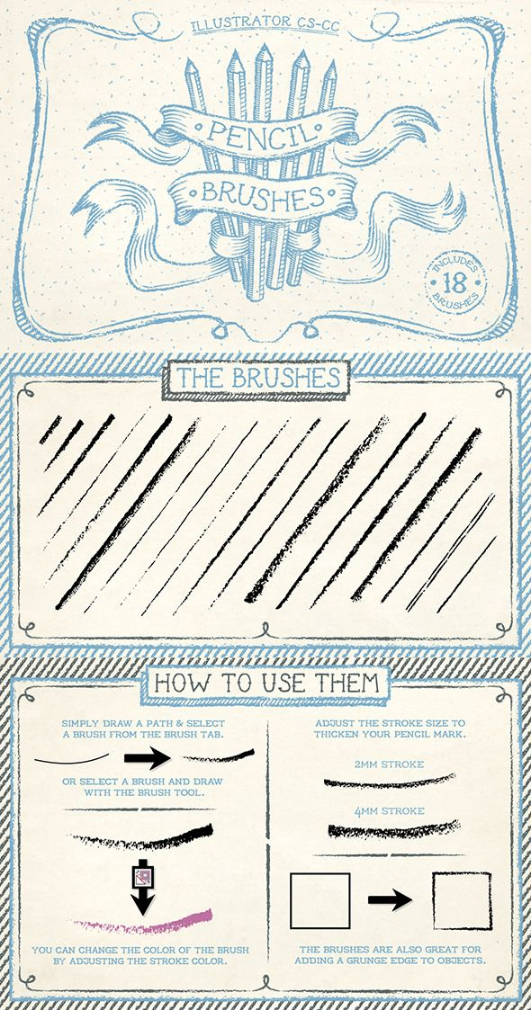 Pencil Brushes for Adobe Illustrator #design #ai Download: http://graphicriver.net/item/pencil-brushes/10671842?ref=ksioks