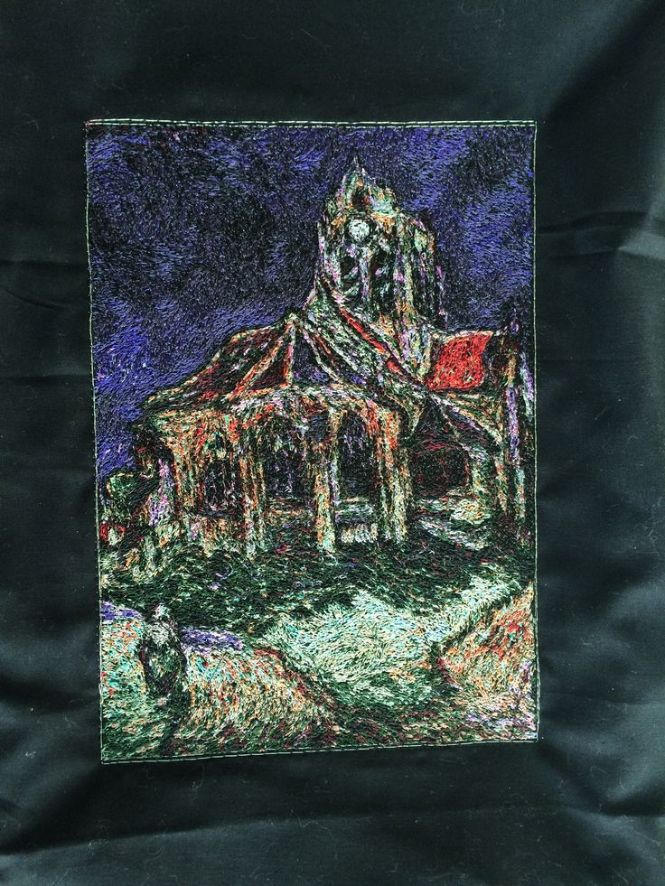 Embroidered Church of Auvers from my Tardis quilt