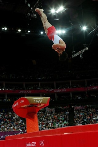 Hak Seon Yang of Korea competes in the Artistic Gymnastics Men's Vault on Day 10.     London Olympics 2012   Best Of London: Day 10 - Slideshows | NBC Olympics