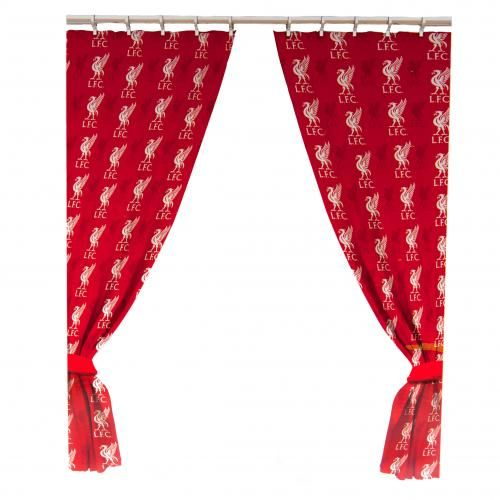 """LIVERPOOL Curtains.1 x pair of ready-made curtains featuring the Liverpool club crest. 66"""" x 72"""" in size. 52% Polyester, 48% Cotton. Official Licensed Liverpool curtains."""
