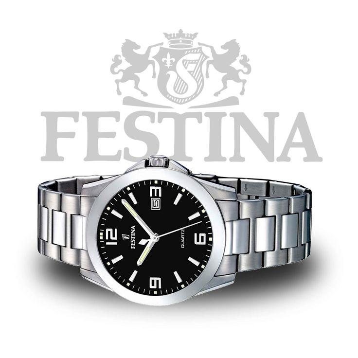#Festina #Herrenuhr F16376/4 – flache & kompakte Analoguhr in #Silber / #Schwarz mit Quarzuhrwerk