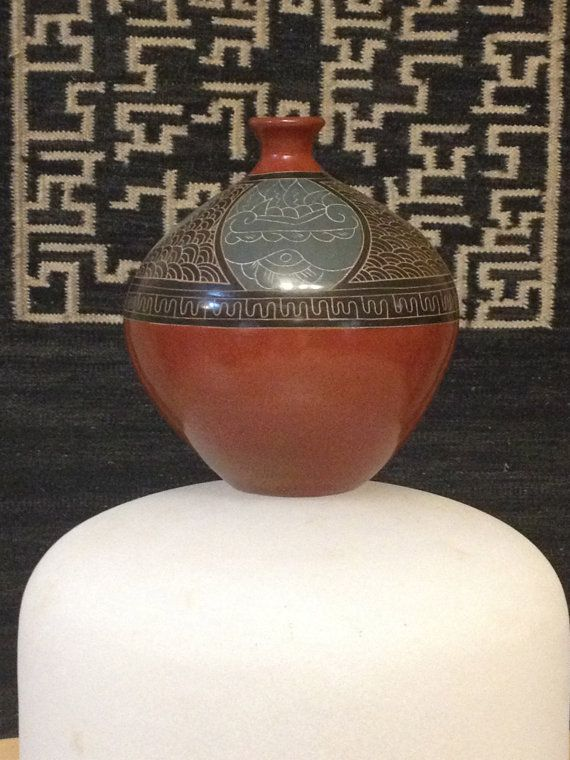 Nicaraguan Signed Traditional Etched Clay Pottery by outofdrawers, $59.00