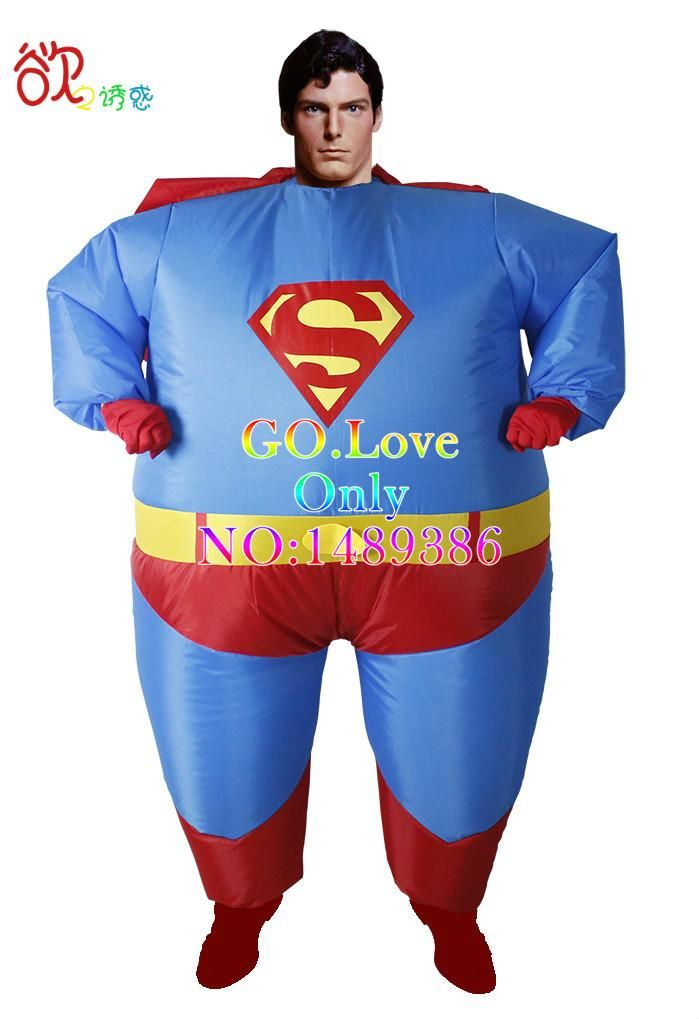 2016 New Inflatable Costume for Halloween Fat Superman Jumpsuit Party Fancy Blow Up Dress Carnival Cosplay Superhero