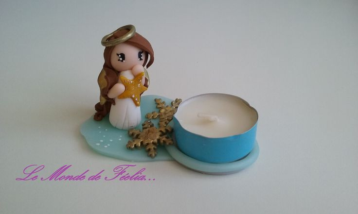 Photophore Ange brun, flocons de neige et étoile, en pâte polymère type fimo, bougie parfum vanille : Luminaires par lemondedefeelia