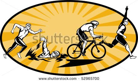 vector illustration showing the progression of Olympic triathlon showing an athlete starting, swimming, biking or cycling and finishing of with  a run. - stock vector #triathlon #retro #illustration