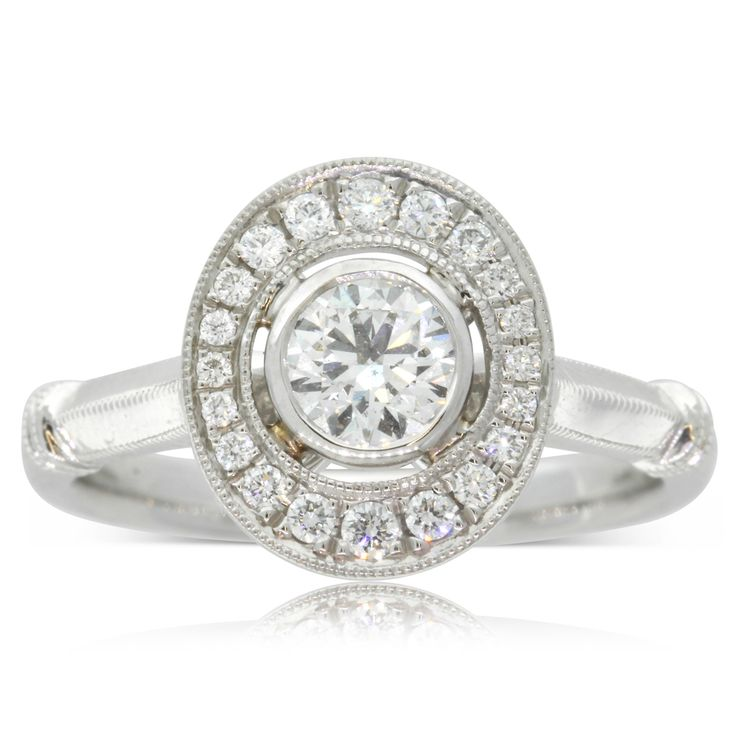 18ct white gold .50ct diamond halo engagement  ring