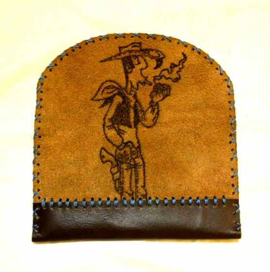 tobacco bag with lucky luke pyrography
