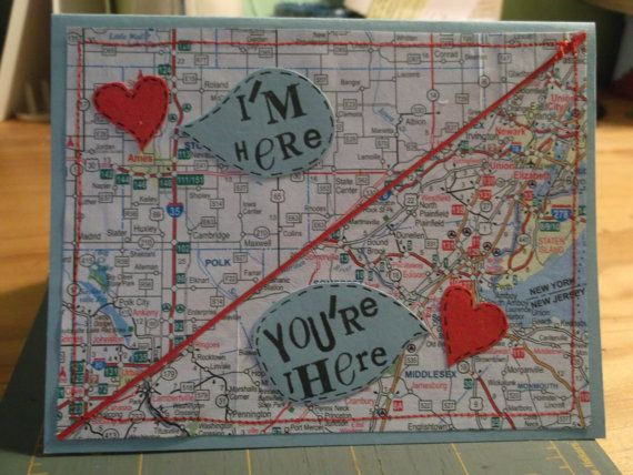 Custom Order I'm Here You're There Miss You Map Card. $9.00, via Etsy.