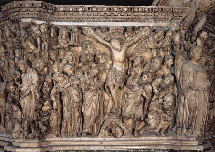 """Nicola Pisano. Púlpito Siena. """"Crucifixión"""""""
