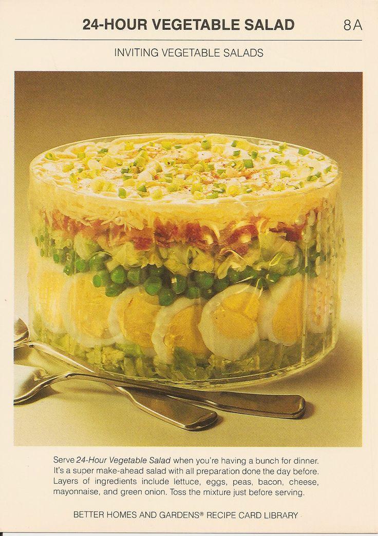 24-Hour Vegetable Salad | Vintage Recipe Cards