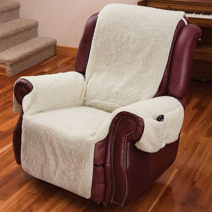 NEW Recliner Chair Cover One Piece W/Armrests And Pockets   One Size Fits  Most