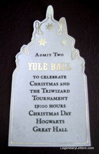 Yule Ball invitation- would be a nice party idea for Christmas