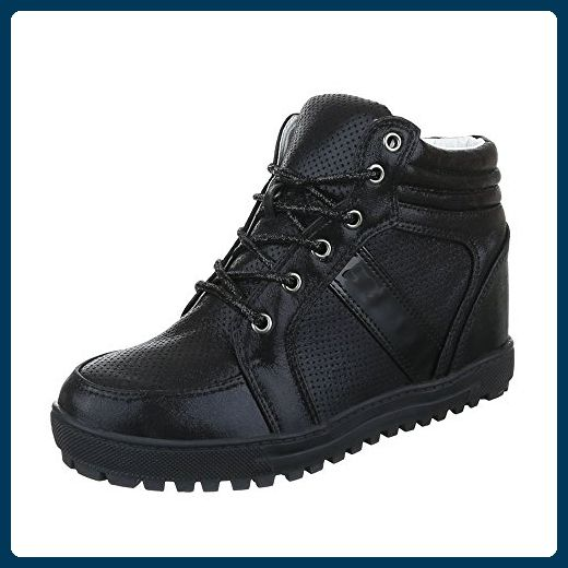 High-Top Sneaker Damen-Schuhe High-Top Keilabsatz/ Wedge Keilabsatz Schnürsenkel Ital-Design Freizeitschuhe Schwarz, Gr 39, 6183- - Sneakers für frauen (*Partner-Link)