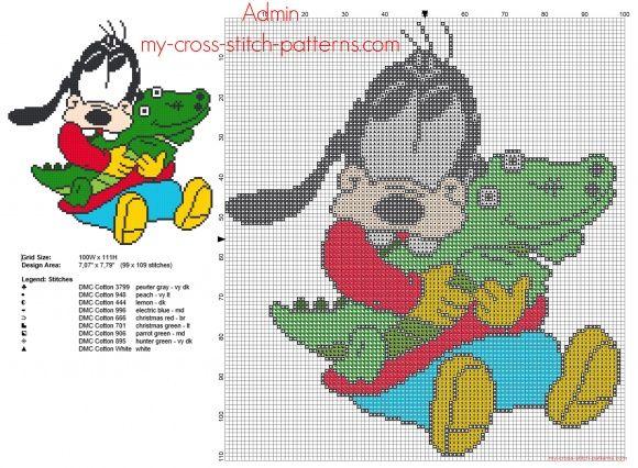 Disney baby Pippo con coccodrillo giocattolo schema punto croce