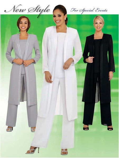 Womens 3pc Pant/Jacket Set, Evening Wear, Mother of the Bride, Party Dress, Special Events. Size 6-34, Colors: White, Black, Silver, Purple