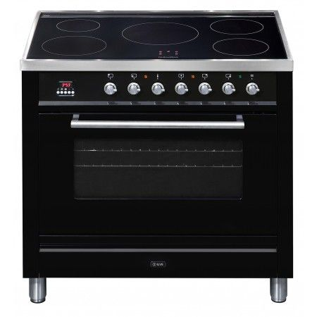 Ilve - 90cm Electric Freestanding Oven, Induction Cooktop, Gloss Black