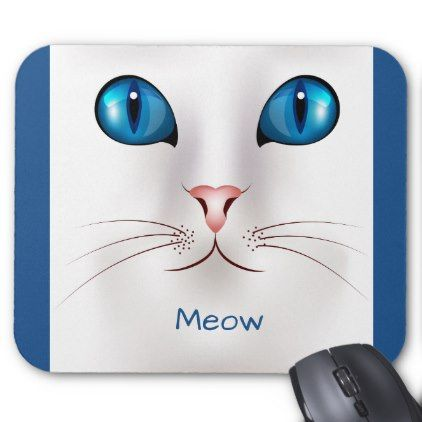 Blue eyes kitty cat mouse pad - blue gifts style giftidea diy cyo