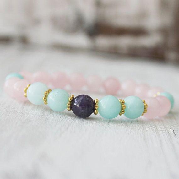 Amazonite Amethyst Rose Quartz Gemstone Healing Bracelet
