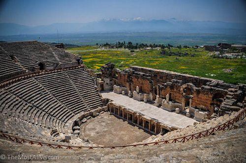 The restored amphitheatre. see @ http://themostalive.com/dead-saints-cotton-castles-and-more-dragons-pamukkale-turkey/