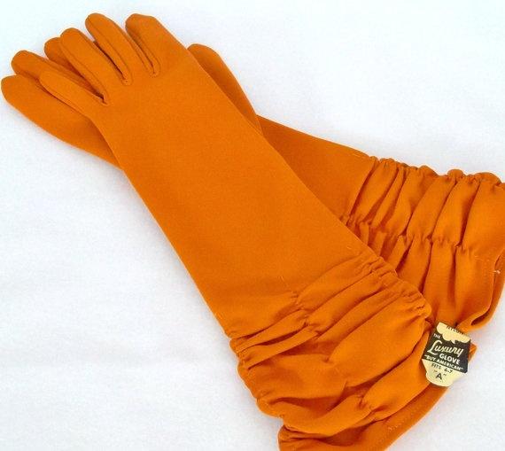 Vintage 5060's Pumpkin Orange Gloves Long New by WillowBloom, $38.00