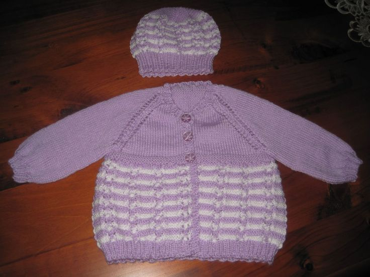Hand knitted baby set, Cardigan and Beanie  Newborn - 3 months Lavender/White
