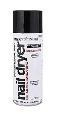 Onyx Professional Spray On Nail Dry with Island Coconut Scent, Nail Dryer Quickly Dries Nail Polish While Preventing Smearing & Conditions Cuticles & Nails, 7.5 Oz