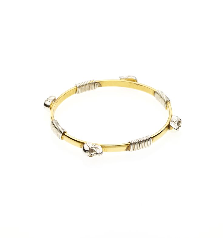 PUSHMATAaHA/ Bondage Skull Bangle/ Gold with Sterling Silver