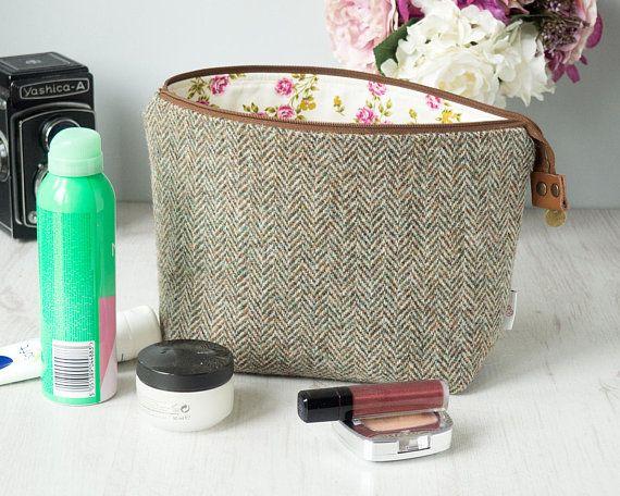 Make up bag/wash bag in lovat green and beigie Herringbone