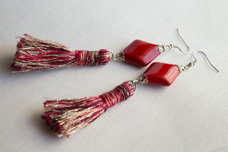 Fashionable Handmade jewelry pendant dangle earrings Bohemia Red Turquoise Beads…