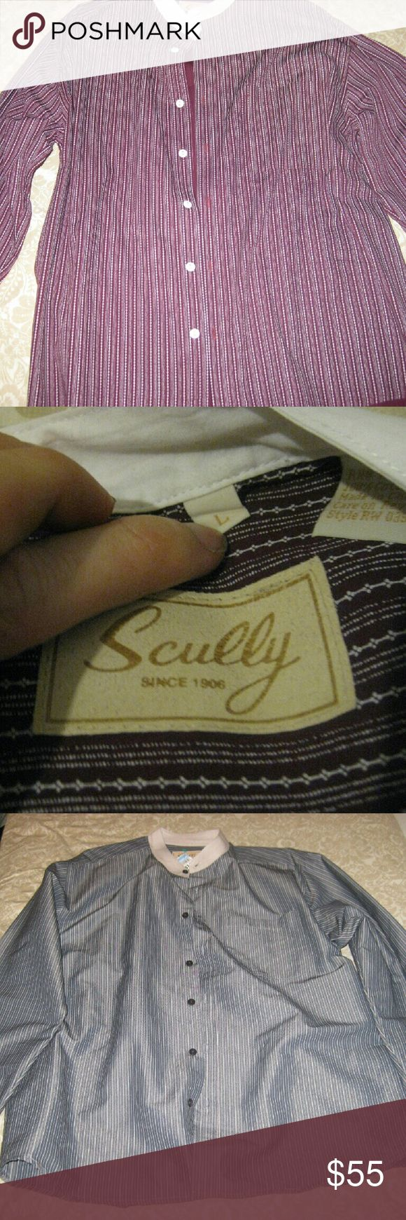 Scully Men's Shirt Western Reenactor Sz Large excellent shape  Scully Men's Shirt Western Reenactor Sz Large 1880's Style Lot of 2  Check pictures to ensure this is what your looking for.?  I work hard to accurately represent the product.?  If you have any questions feel free to ask. All feedback is encouraged and appreciated. Scully Shirts Dress Shirts