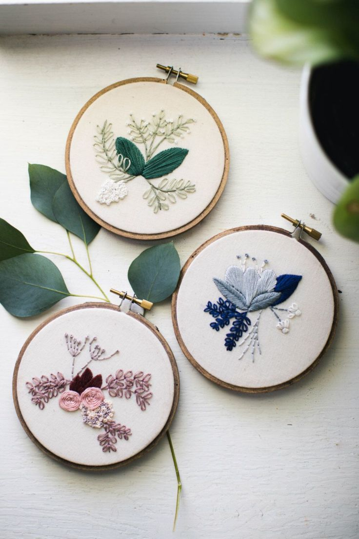 CLUSTER OF THREE, Floral Embroidery Hoop Art, Gallery Wall Design, Gift for Mom, Botanical Feminine Decor, Gift for Sister, Hand Stitched by ThistleThreadDesign on Etsy https://www.etsy.com/uk/listing/457768632/cluster-of-three-floral-embroidery-hoop