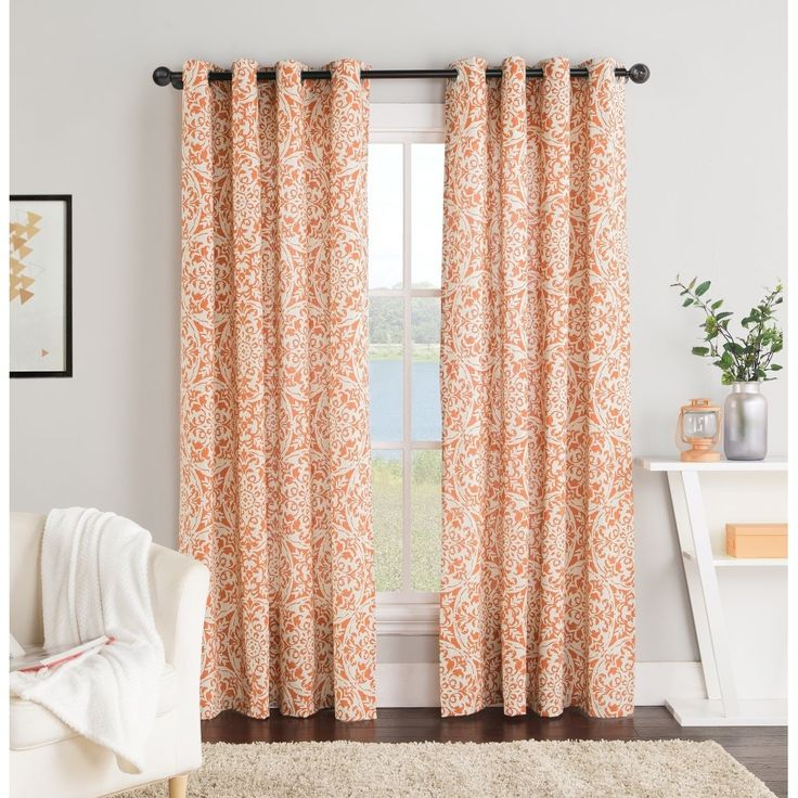 These Colorful Grommet Top Curtain Panels Are Elegant And Delicately  Patterned. The 84 Inch. Living Room OrangeClassic CurtainsPatterned ...