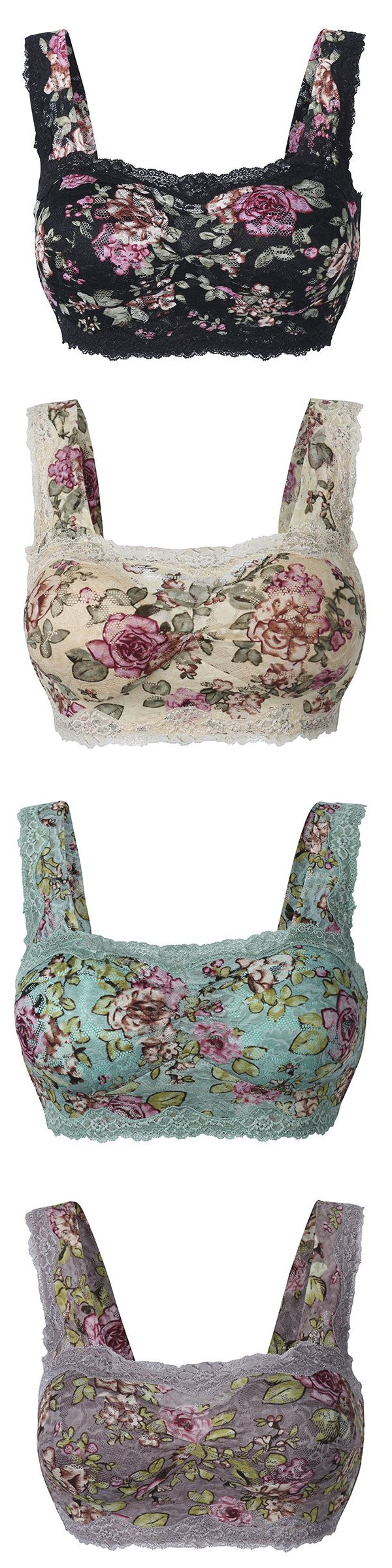 Plus Size Floral Lace Hem Bras Breathable Wireless Vest Bra